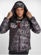 Yakuza Allover Label Quilted Hooded Jacket Black/Grey